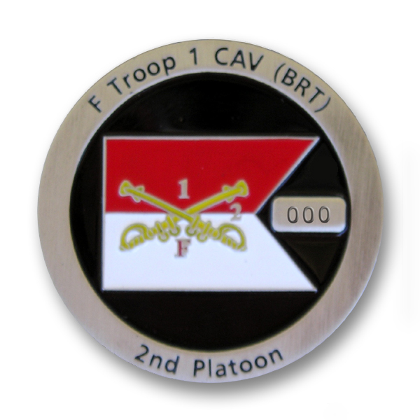 Challenge Coin with numbering on a raised block