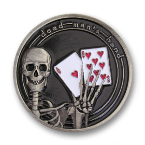 1.56 inch Antique Silver, Dead Man's Hand Poker Card Guard