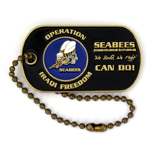 2 inch, Antique Bronze Seabee Challenge Coin Dog Tag Ball Key Chain