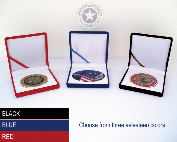 Velveteen Challenge Coin Presentation Boxes